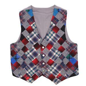 Handmade Mens Patchwork Tweed Vest Waistcoat 46 Gray Red Blue Flannel Plaid Wool