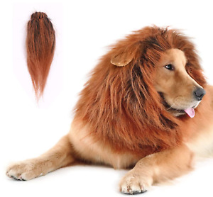 Pet Costume Lion Mane Wig with Ears and Tail for Dog Halloween Med to Large Dog
