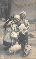BG8742 children girl pig  neujahr new year greetings germany