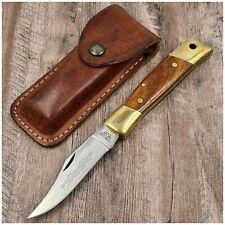 Couteau ancien CAMILLUS NEW YORK USA Sword Brand No°4 + étui-Pocket knife wood