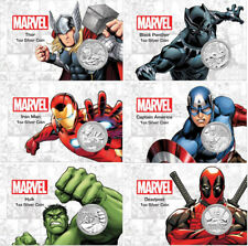 Tuvalu Marvel 6 .999 Fine Silver Coin In Card Set Deadpool Hulk Iron Man Thor