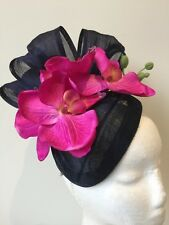 New navy air hostess fascinator with loops and magenta orchids! Made to order!
