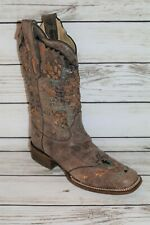 CORRAL BOOTS Brand Vintage Brown Embroidered Cowboy Boots Size 9 LIKE NEW