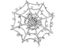 Lampshade Web Crystal Rhinestone Spider Costume Sliver Tone Purse Pin Brooch