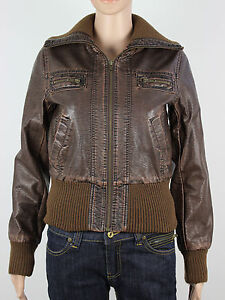 MISO womens Size 10 Brown Cropped Faux Vintage Look Leather Jacket