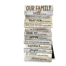 BEAUTIFUL OUR FAMILY WILL PRAYER WALL PLAQUE / DESKTOP STAND BIBLE VERSES