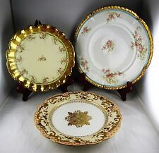 3 Assorted Limoges French Porcelain Cabinet Plates - Heavy Gold
