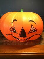 """Vintage Halloween ALVIMAR Inflatable Pumpkin With Two Faces 12"""" Wide"""