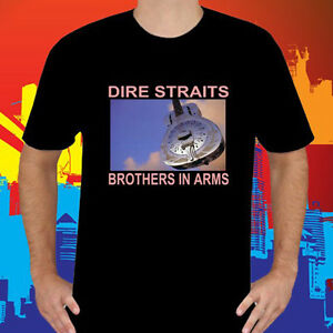 New Dire Straits - Brothers In Arms Logo Black T-Shirt Size S-3XL