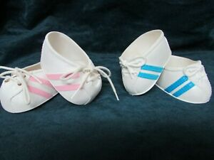 Lot of Two Cabbage Patch Doll Shoes White w/ Pink Stripes White w/ Blue Stripes