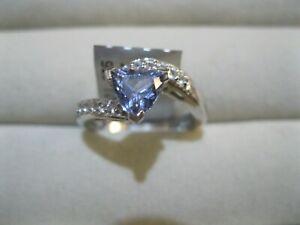 Gemporia TGGC AA Tanzanite & White Topaz 925 Silver Ring size N to O COA BNWT
