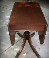 Antique Duncan Phyfe Drop Leaf Wooden Table Brass Claw Feet