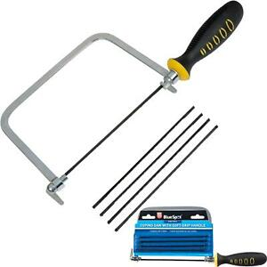 """BlueSpot 6"""" Coping / Fret Saw Soft Grip Handle Steel Metal Frame With 5 Blades"""