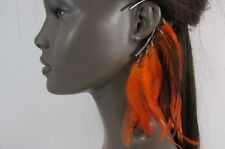 New Women Ear Cuff Colorful Orange Feather Silver Chains Beautiful Statement
