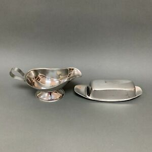 Gravy Boat and Butter Metal Dish with Lid