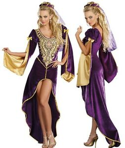 Royal Medieval Queen Princess Purple Gold High Low Maiden Juliet Royalty Costume