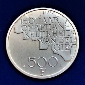 Belgium/ 500 Francs 1980/ 150th Anniversary of Independence/ SILVER COIN