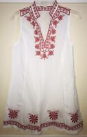 Forever 21 Women Sleeveless Tunic Sz L Red White Cotton Excellent Condition