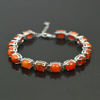 Natural Fire Orange Opal Gemstone 925 Sterling Silver Adjustable Chain Bracelet