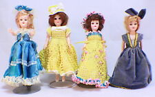 Vintage Hard Plastic Doll lot of 4 in Crochette dresses Open Close Eyes