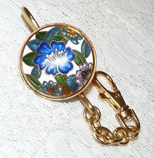 Lovely Gold Tone Multicolored Enamel Cloisonne Key Ring/Holder  FF32*