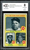 1973 Topps #1 Babe Ruth 714 Hank Aaron 673 Willie Mays 654 BGS BCCG 8 Excellent+