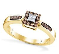 10K Yellow Gold Chocolate Brown Diamond Ring White Princess Cluster Band .25ct