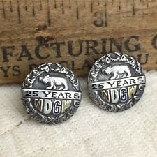 Vintage NDGW 25 Years Silver Lapel Pins Native Daughters Golden West Calif Bear