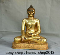 "11 ""Alt Tibet Kupfer Gild Buddhismus Sitz Shakyamuni Sakyamuni Buddha Skulptur"