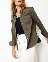 NEW Ex M&S Holly Willoughby Khaki Military Double Pocket Fitted Shirt RRP £37.50