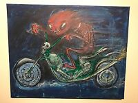 GUS FINK art ORIGINAL painting outsider lowbrow Comix 60s MOTORCYCLE DEVIL RIDER