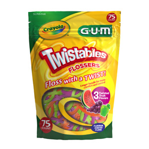 Crayola Twistables Flossers Fluoride Coated Twisted Fruit Flavors, Age 3+ (75ct