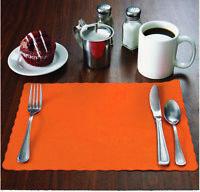 """100 Raise® Orange Paper Placemats, Scalloped Edge, 10""""x14"""" place mats,Disposable"""