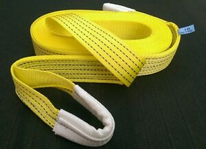 HEAVY DUTY 10M 4X4 RECOVERY WINCH TOW TOWING ROPE STRAP TREE STROP 5 TON HI VIS