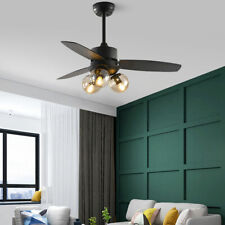 """42"""" Ceiling Fan Lamp 3 Wood Blades Remote Control 3 Wind Speed 3 Glass Light Usa"""