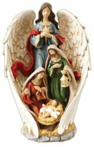 Xmas Nativity Angel Holy Family Christmas Ornament Gold Highlights Hand Painted