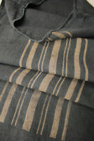 Dyed Black linen GRAINSACK grain sack with caramel printed stripe 19th century