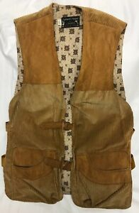 Vintage Browning Arms Co. Hunting Pocket Vest Leather Corduroy Lined