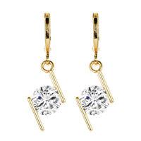 Fashion Women 18K Gold Plated Simple White Round CZ Zircon Drop Earrings Jewelry