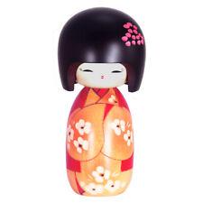 """Japanese KOKESHI Wooden Doll 6-3/8""""H Nobana Ume Floral Kimono Girl Made in Japan"""