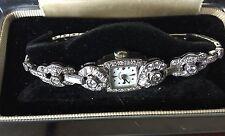 Designer vintage 3.32 carat 14k white gold Hamilton watch bracelet  6.25 inches