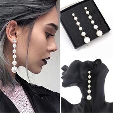 Women Elegant Big Pearl Crystal Long Tassel Dangle Drop Earrings Stud Jewelry