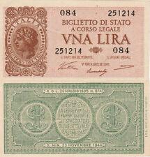 UNA LIRA ITALIA BIGLIETTO DI STATO A CORSO LEGALE D. MIN. 23 NOVEMBRE 1944
