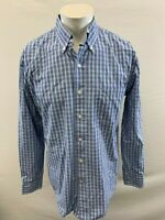 IZOD Men's Medium Long Sleeve Button Down Blue Plaid Cotton Casual Shirt