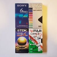 TDK SONY FUJI LASER - Lot of 4 VHS Used Tapes Recordable