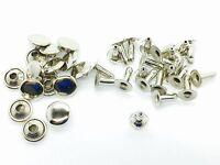 100 2 Pcs Silver Tubular Cap Rivets 10mm x 8mm Leather Craft Rivets Repair