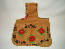 Vintage Burlap Embroidered, Crocheted Floral Hippi, Boho Shoulder Bag