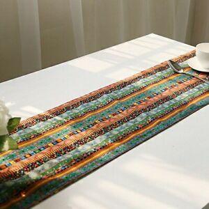 Ethnic Table Runner Boho Tasseled Edges Tablecloth Cotton Linen Table Cover EAN