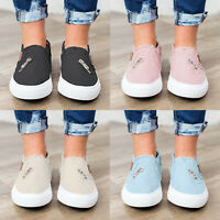 US Womens Denim Canvas Loafers Pumps Casual Slip On Flat Trainers Sneakers Shoes