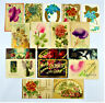 17 ANTIQUE EMBOSSED HAPPY BIRTHDAY POSTCARDS ~ GOLD ACCENT ~ FLORAL ~ HORSESHOE